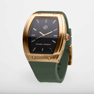 Exclusive and minimalistic gold watch Edvard Erikson watch E2 Brushed Gold Olive Green Edvard Erikson Watches is a Swedish watch brand made of Stainless steal 316L. Our E2 Watch is an elegant and luxury square shape watch for all occasions. Discover the complete collections of Edvard Erikson watches online.