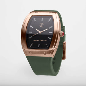 Exclusive and minimalistic rose gold watch Edvard Erikson watch E2 Rose Gold Olive Green Edvard Erikson Watches is a Swedish watch brand made of Stainless steal 316L. Our E2 Watch is an elegant and luxury square shape watch for all occasions. Discover the complete collections of Edvard Erikson watches online.