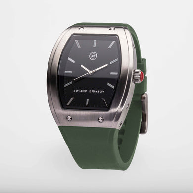 Exclusive and minimalistic silver watch Edvard Erikson watch E2 Silver Stone Olive Green Edvard Erikson Watches is a Swedish watch brand made of Stainless steal 316L. Our E2 Watch is an elegant and luxury square shape watch for all occasions. Discover the complete collections of Edvard Erikson watches online.