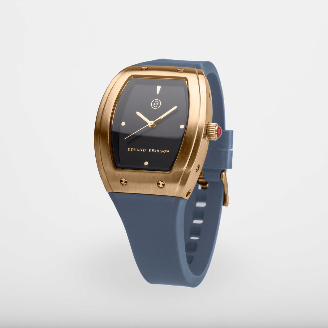 Exclusive and minimalistic gold watch Edvard Erikson watch E1Brushed Gold Blue Sky