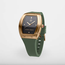 Exclusive and minimalistic gold watch Edvard Erikson watch E1Brushed Gold Olive Green
