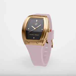 Exclusive and minimalistic gold watch Edvard Erikson watch E1Brushed Gold Dusty Pink