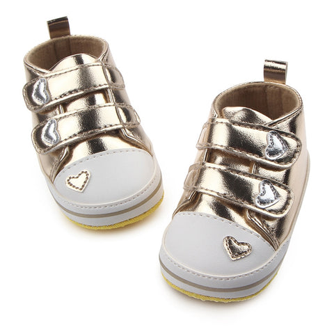 Boy/Girl Classic Heart-Shaped Pu Leather First Walkers