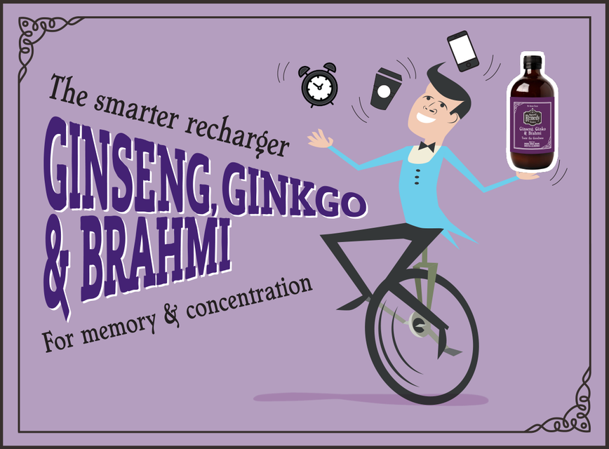 Chap on unicycle juggling phone, clock and coffee cup. Headline, the Smarter recharger Ginseng, Ginkgo & Brahmi for memory & concentration