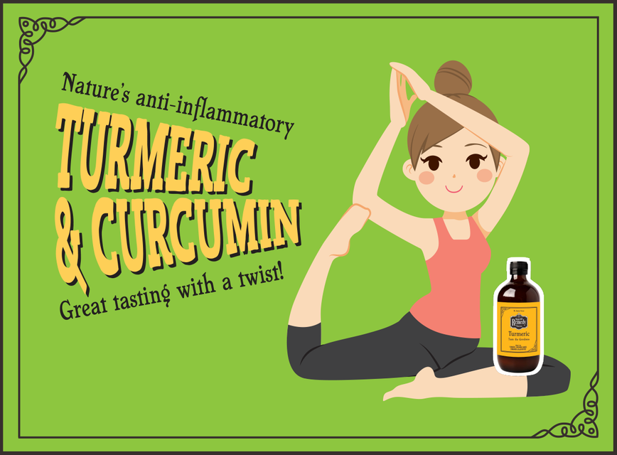 Yoga lady holding bottle of Turmeric and stretching. Header Nature's anti-inflammatory Turmeric & Curcumin Great Tasting with a Twist!