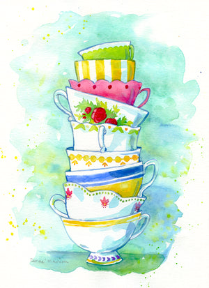 """Tea Cups"" Denae Manion Print"