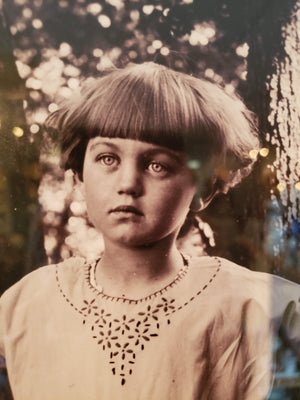 """Flower Girl"" 1910's glass plate print"