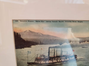 1910 Cascade Locks postcard in frame