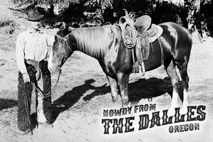 """Howdy from The Dalles"" postcard"