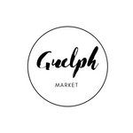 Black text, Guelph Market,  framed by circle on white background