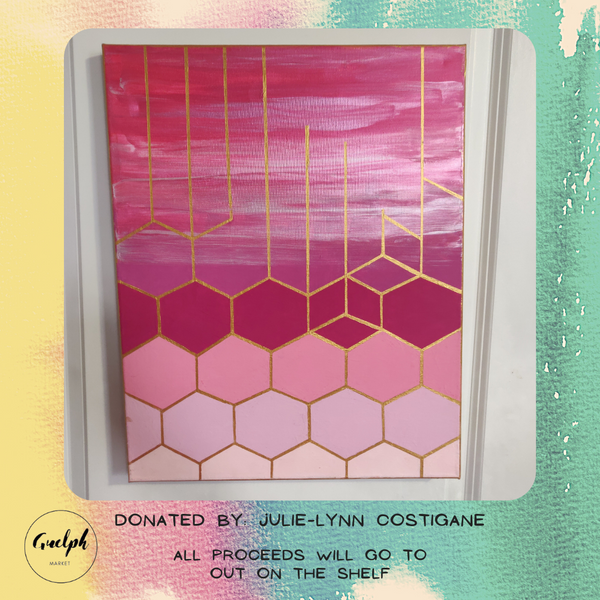 Geometric Style Painting (Pink) - donated by Julie-Lynn Costigane-Guelph Market