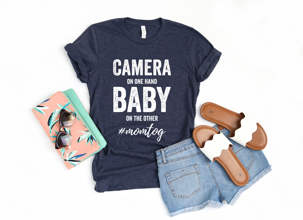 Camera and Baby Photography Crew Neck Tshirt