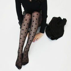 New Pantyhose Women Tights Black And White Big Dots