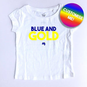 Blue and Gold - Personalised girl's tee