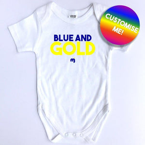 Blue and Gold - Personalised baby onesie