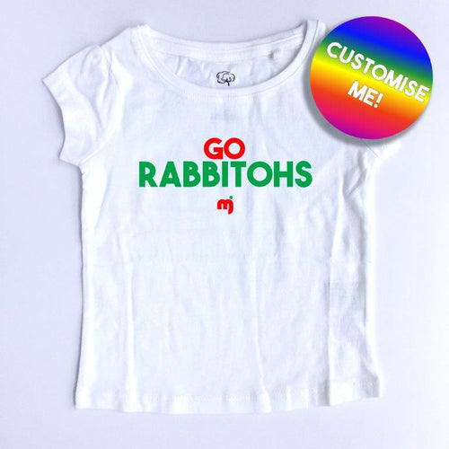 Go Rabbitohs - Personalised girl's tee