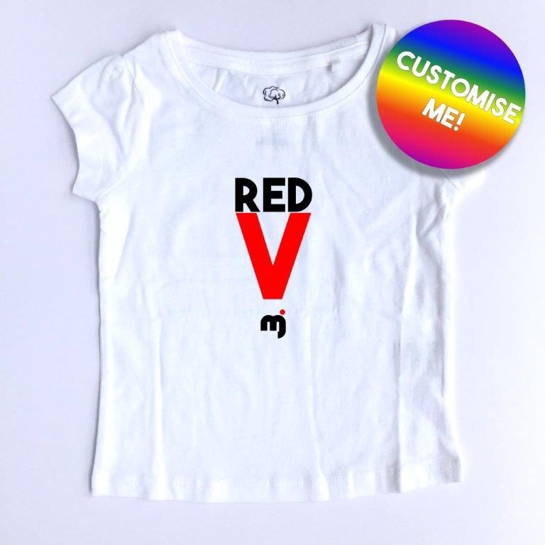 Red V - Personalised girl's tee