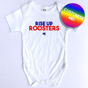 Rise up Roosters - Personalised baby onesie