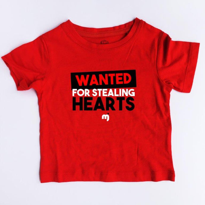 Wanted for stealing hearts - Boy's tee