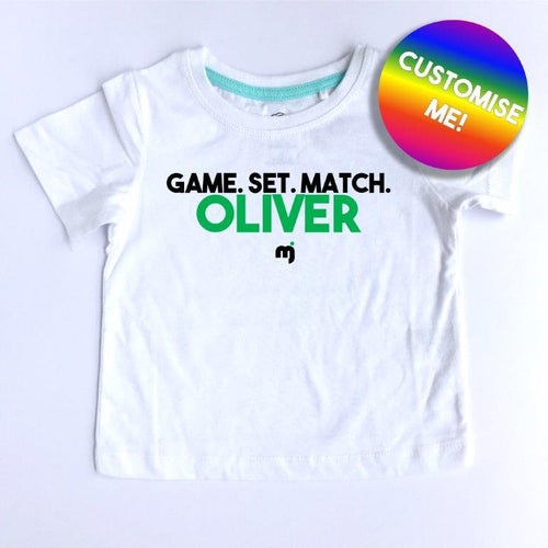 Game. Set. Match. - Personalised boy's tee