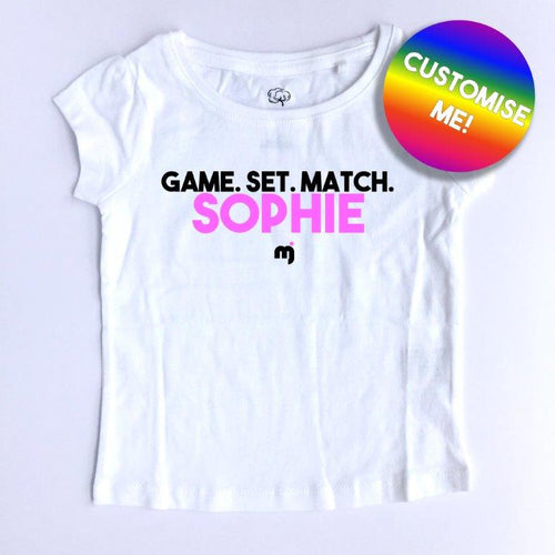 Game. Set. Match. - Personalised girl's tee