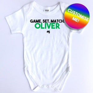 Game. Set. Match. - Personalised baby onesie