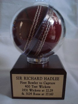 Mounted 'Trophy' signed cricket ball
