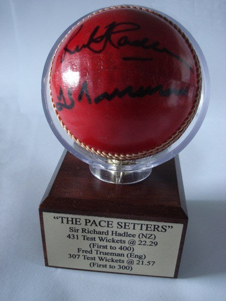 Mounted 'Trophy' cricket ball - The Pace Setters