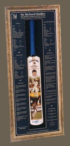 Framed full sized Sir Richard Hadlee Cricket Bat