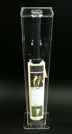 Cricketing Knights cricket bat in display case