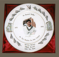 Bone China Plate Depicting Sir Richard Hadlee's Career Record