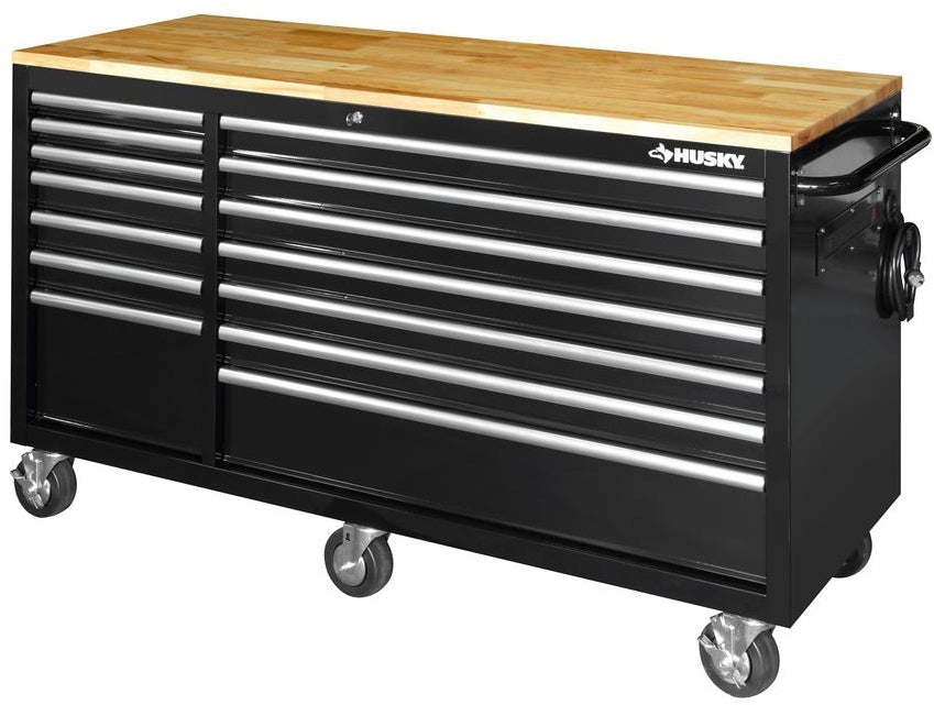 62 In 14 Drawer Mobile Workbench With Solid Wood Top In Black
