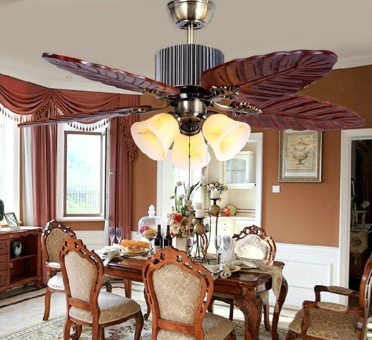 Archaize Southeast Asian Solid Wood Ceiling Fan European Style Solid Wood Living Room Fan Restaurant Fan Ceiling Zh Fs1