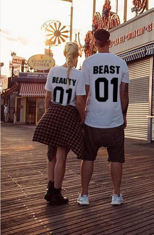 Couple T-shirt Beauty Beast 01 design fashion 100% cotton O- neck Short Sleeve Tshirt Women And Men Casual Custom numbers Print