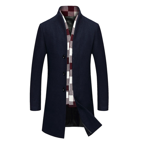 New Winter Men's Wool Trench Jacket