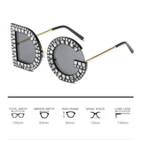 Diamond D and G Round Sunglasses Square Luxury Brand Crystal Gemstone