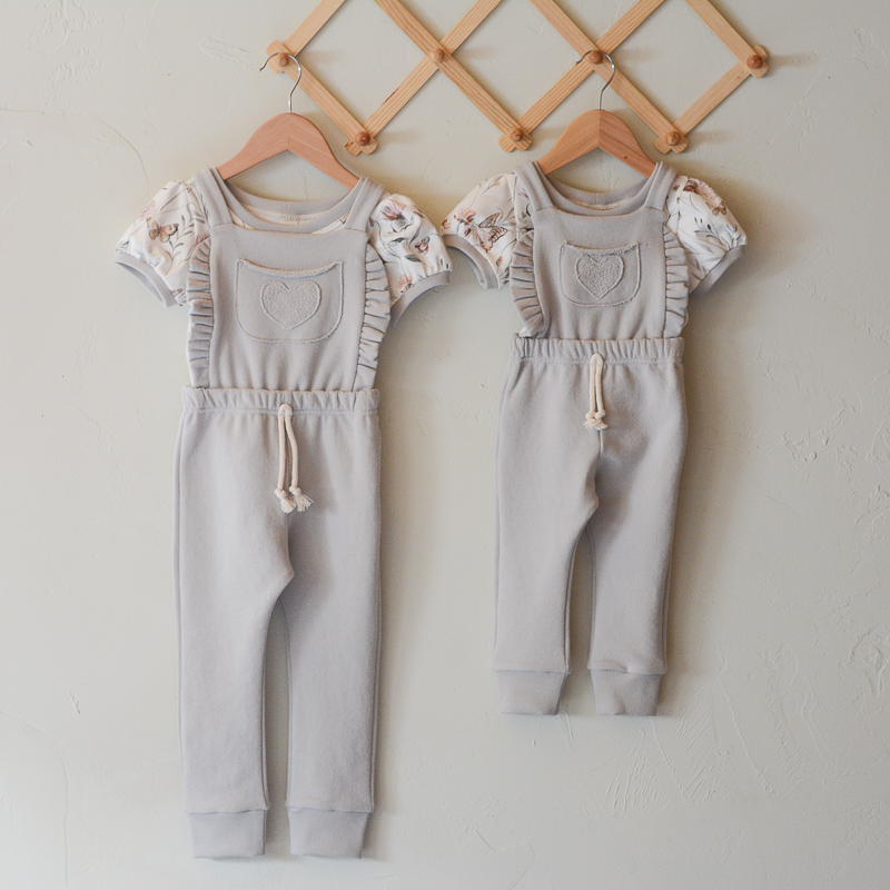 Heart Overalls with Puff Sleeve Tee Set