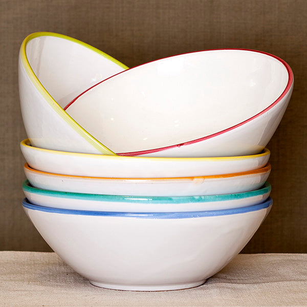 Coloured Rim Salad Bowl