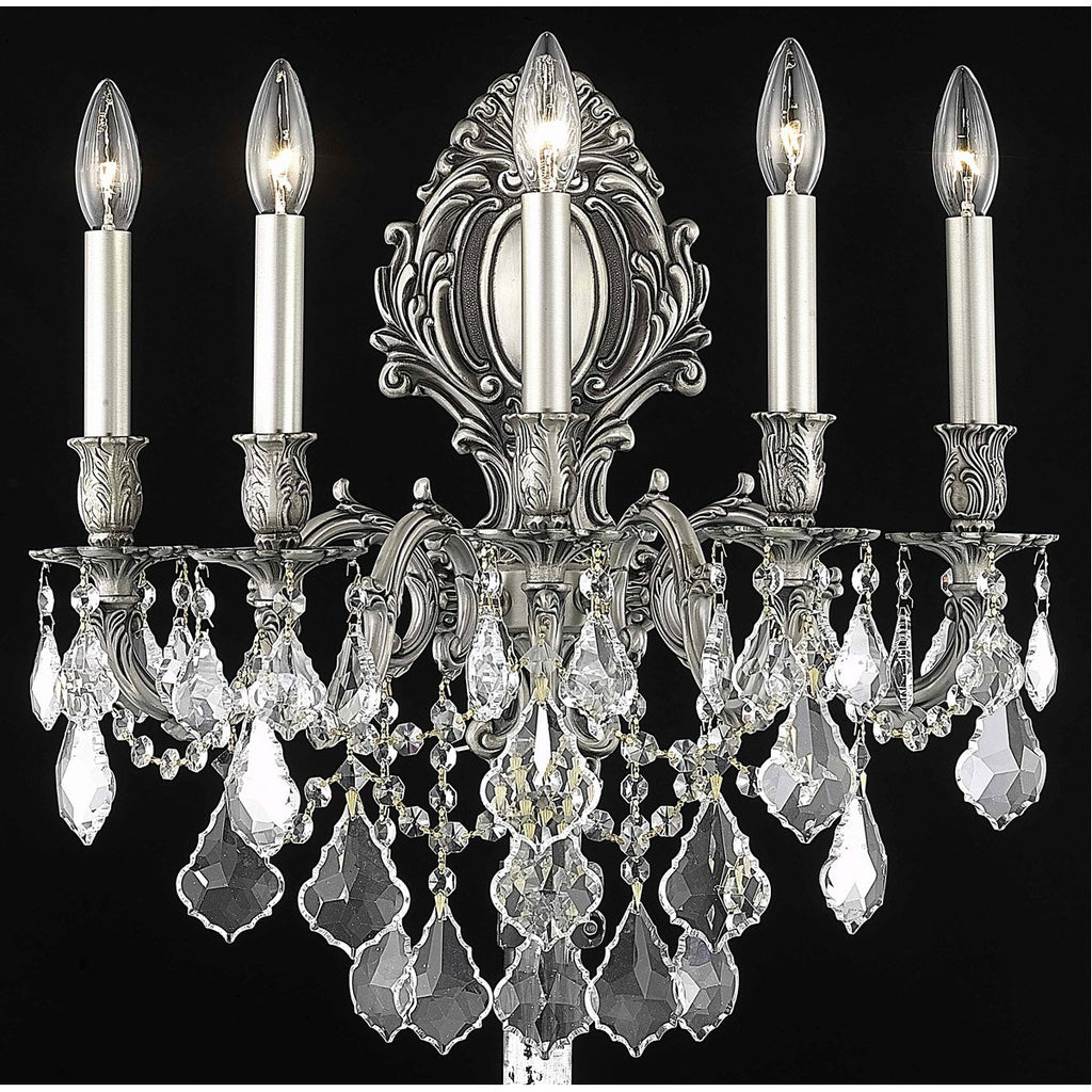 Elegant Lighting 9605W21PW/RC Monarch 5 Light Sconce Pewter Crystal
