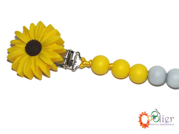 attache jouet de dentition, jaune soleil, clip fleur, couleurs vives, collection printemps 2020