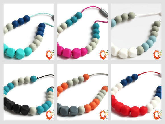 Colliers à mâcher pour besoins particuliers, special needs chewy necklace, collections 2018 et 2019