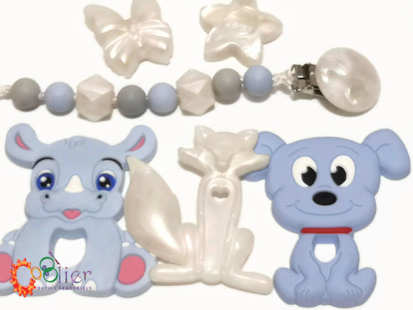 Attache jouet de dentition et attache-suce perle,pacifier clip white pearl