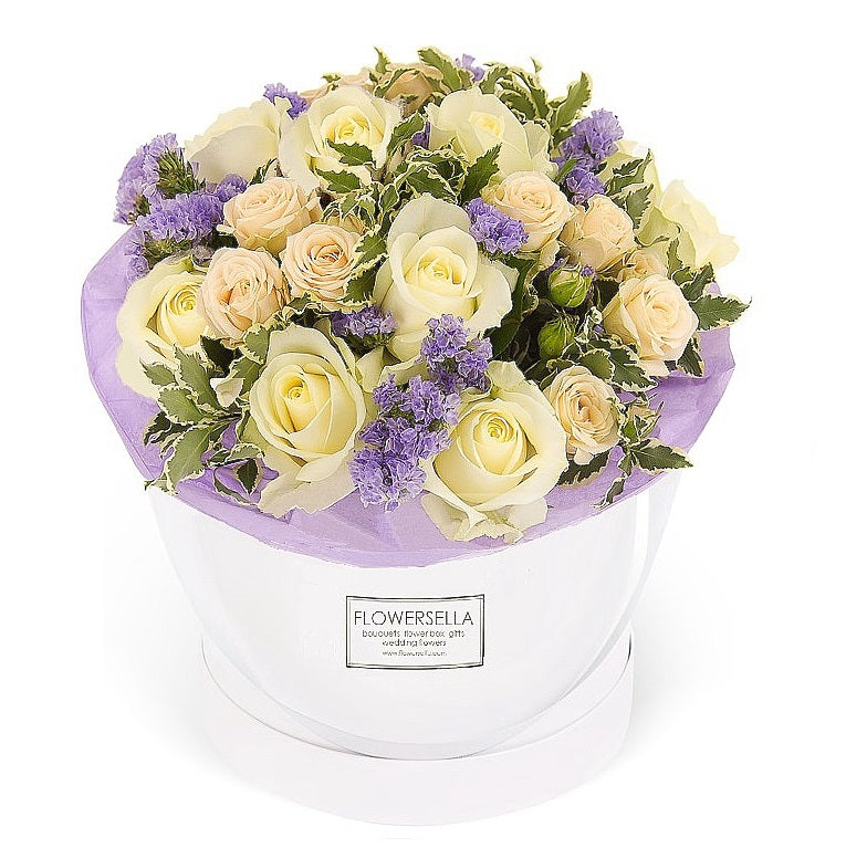 Bliss: White Roses and Violet Statice