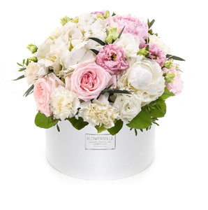 Letter of Love: Pink Peonies and White Carnations
