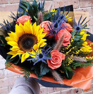 Sunset: Sunflowers and orange Roses