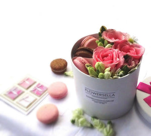 Flower box+3 macarons