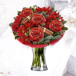 Crimson: Roses and Chrysanthemums