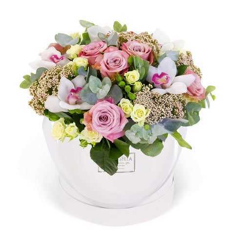 Luxury Pastel Roses and Orchids hat box