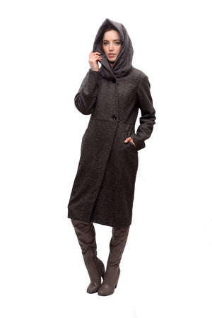Funnel/Hood Zip Coat/Charcoal