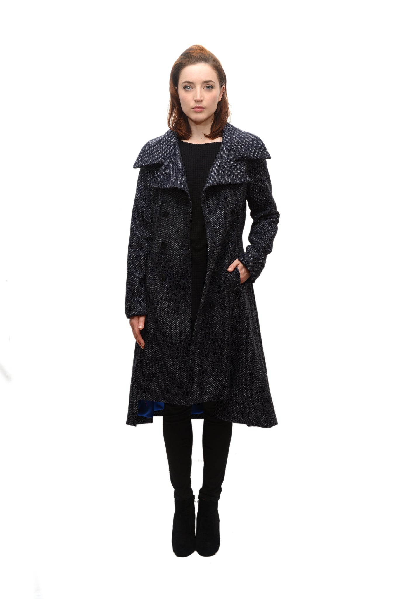 Military Button Up Coat/  Wool/Cashmere Blend/ Black